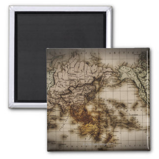 Close up of antique world map 6 square magnet