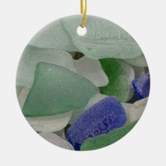 Close up of beach glass, Alaska Ceramic Ornament