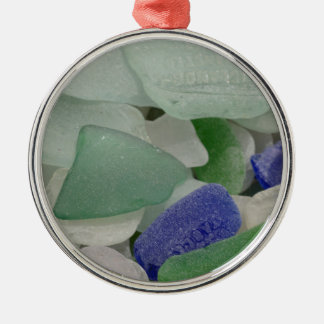Close up of beach glass, Alaska Silver-Colored Round Ornament
