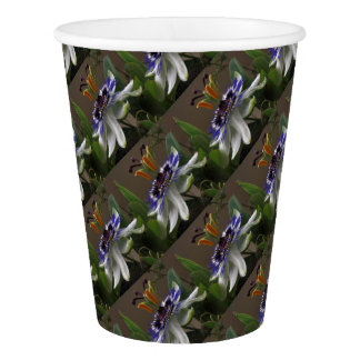 Close Up of Beautiful Passiflora Flower Paper Cup