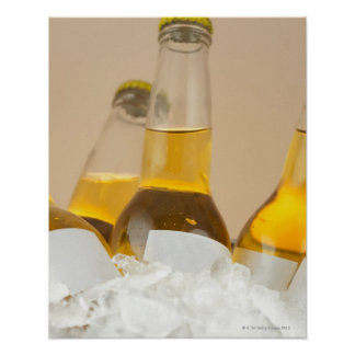 Close-up of beer bottles in ice poster