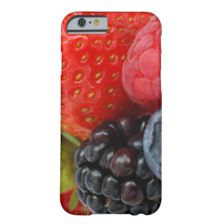 Close-up of blackberry, blueberry and barely there iPhone 6 case