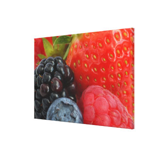 Close-up of blackberry, blueberry and canvas prints