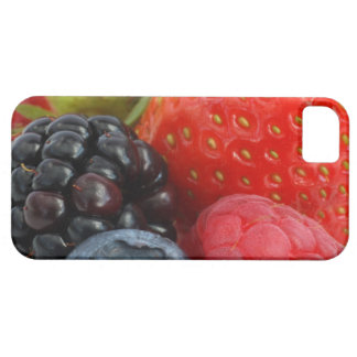 Close-up of blackberry, blueberry and case for the iPhone 5