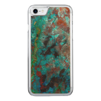Close up of blue Shattuckite Carved iPhone 7 Case