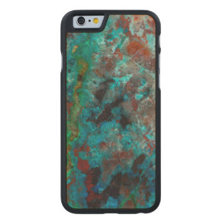 Close up of blue Shattuckite Carved® Maple iPhone 6 Case