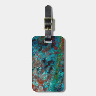 Close up of blue Shattuckite Luggage Tag