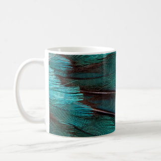 Close up of blue wing feathers coffee mug