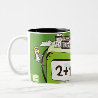 Close-up of buildings on a calculator Two-Tone coffee mug