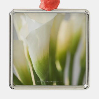 Close up of calalily flowers Silver-Colored square ornament