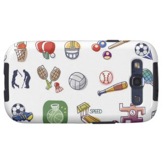 Close-up of different type of sports equipments samsung galaxy SIII covers