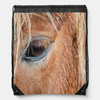 Close-up of eye and head of Icelandic horse Drawstring Bag