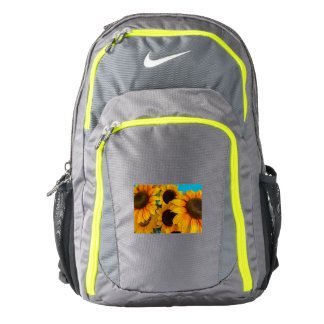close-up of flowered sun  on Nike  Backpack,