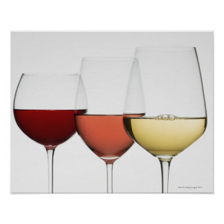 Close up of glasses of different wines poster
