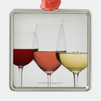 Close up of glasses of different wines Silver-Colored square ornament
