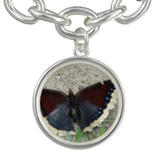 Close up of Gorgeous Mourning Cloak Butterfly Bracelet