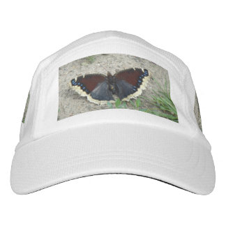 Close up of Gorgeous Mourning Cloak Butterfly Headsweats Hat