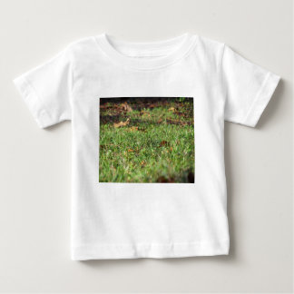 Close up of green grass field and autumn leaves baby T-Shirt