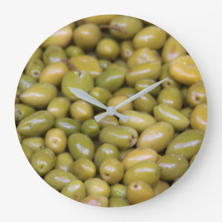 Close Up Of Green Olives Large Clock