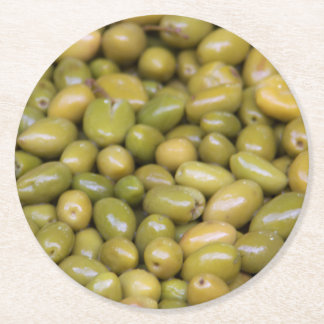 Close Up Of Green Olives Round Paper Coaster