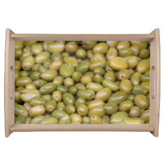 Close Up Of Green Olives Serving Tray