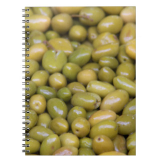 Close Up Of Green Olives Spiral Notebook