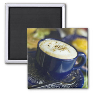 Close-up of latte on table square magnet