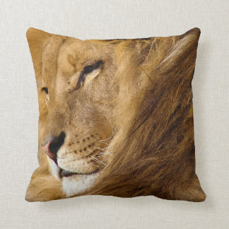 Close Up of Male Lion's Head Face Throw Pillow