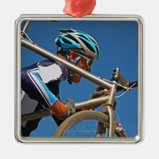 Close up of man cyclocross racing Silver-Colored square ornament