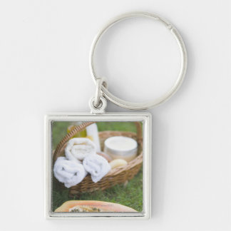 Close-up of papaya massage therapy treatment Silver-Colored square keychain