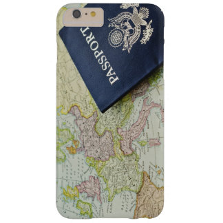 Close-up of passport lying on European map Barely There iPhone 6 Plus Case