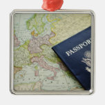 Close-up of passport lying on European map Silver-Colored Square Ornament