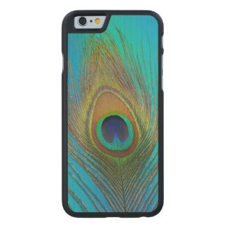 Close up of peacock feather carved maple iPhone 6 case