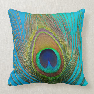 Close up of peacock feather throw pillow
