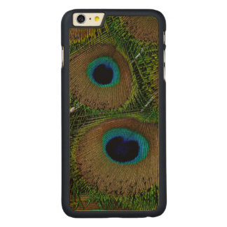 Close-up of peacock feathers carved maple iPhone 6 plus case