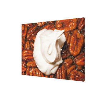 close up of pecan pie with whipped cream canvas print