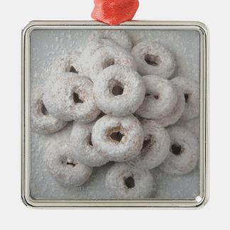 Close-up of powdered doughnuts in a plate Silver-Colored square ornament
