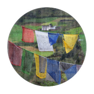 Close Up Of Prayer Flags Cutting Board