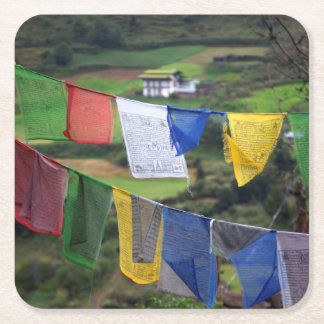 Close Up Of Prayer Flags Square Paper Coaster