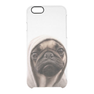 Close up of pug wearing hoodie. clear iPhone 6/6S case