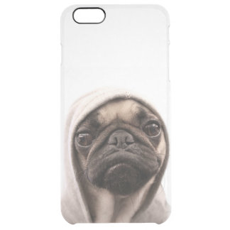 Close up of pug wearing hoodie. clear iPhone 6 plus case