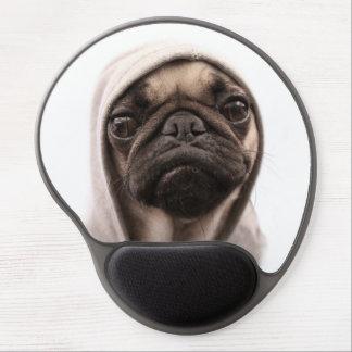 Close up of pug wearing hoodie. gel mouse pad