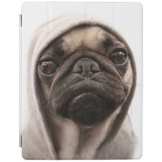 Close up of pug wearing hoodie. iPad cover