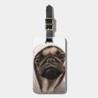 Close up of pug wearing hoodie. luggage tag