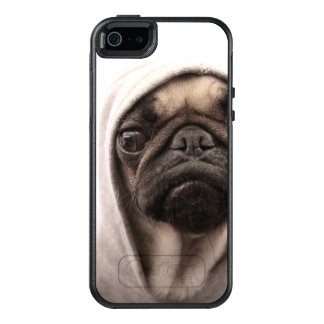 Close up of pug wearing hoodie. OtterBox iPhone 5/5s/SE case