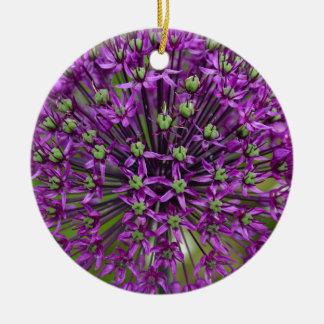 Close up of purple allium flower round ceramic ornament