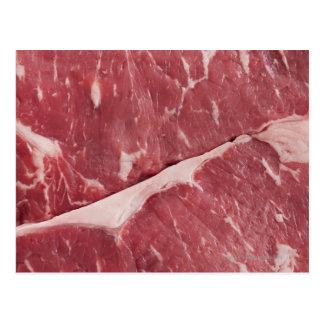 Close-up of raw steak postcard