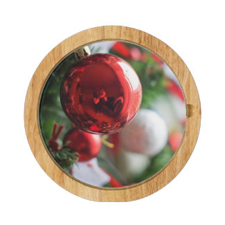 Close up of red ball on Christmas tree Rectangular Cheeseboard