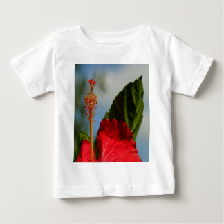 Close Up of Red Hibiscus Stamen and Pollen Baby T-Shirt