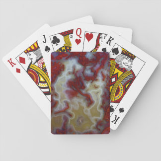 Close up of Red Moss Agate Slab Poker Deck